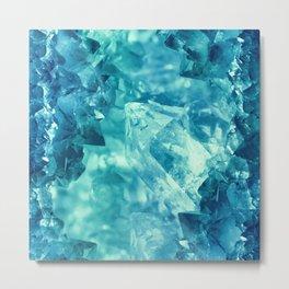 Beautiful blue-teal quartz crystal cluster Metal Print