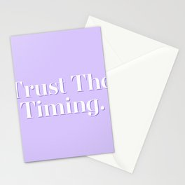 Trust The Timing Pastel Purple Typography Inspirational Quote Stationery Cards