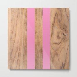 Striped Wood Grain Design - Pink #787 Metal Print