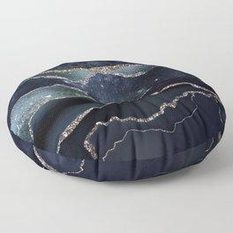 Black Night Galaxy Marble Floor Pillow