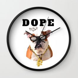 Dope bulldog with Korean letters Wall Clock