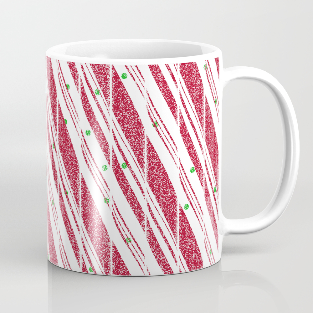Frosty Red Candy Cane Pattern Mug by Oursunnycdays MUG8100995