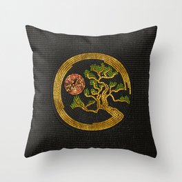 Zen Enso Circle and Bonsai Tree Mosaic Throw Pillow