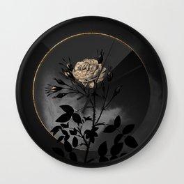 Shadowy White Rose of Rosenberg Botanical on Black and Gold Wall Clock