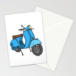 Blue motor scooter (vespa) Stationery Cards