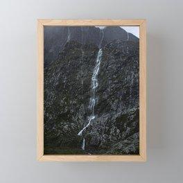 Giant Waterfall in the Storm, Fiordland New Zealand Framed Mini Art Print