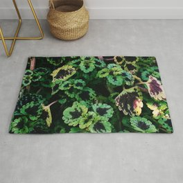 Green Leaf Flowers Rug