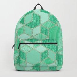 Green Glitter and Liquid Marbling Backpack