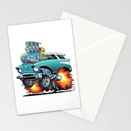 Classic Fifties Hot Rod Muscle Car Cartoon Stationery Cards