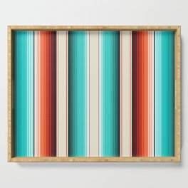 Navajo White, Turquoise and Burnt Orange Southwest Serape Blanket Stripes Serving Tray