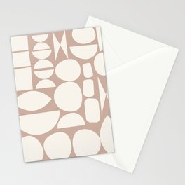 Organic Abstract Geometric Shapes in Neutrals Stationery Cards