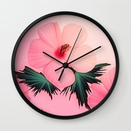 Tropical Pink Hibiscus Flower Print Wall Clock