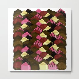 Never Too Much Chocolate - Valentines Day Candy Pattern Metal Print