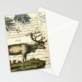 western country primitive christmas mountain animal wildlife winter pine tree elk Stationery Cards