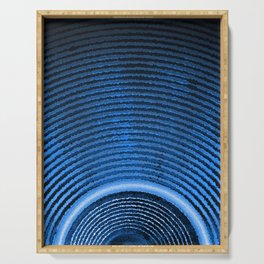 Blue music speaker and sound waves Serving Tray