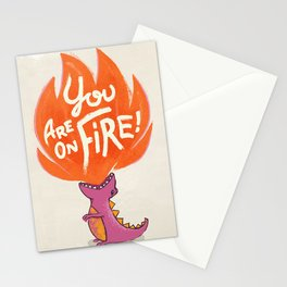 T-Rex On Fire Stationery Cards
