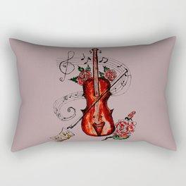 Brown Violin with Notes Rectangular Pillow