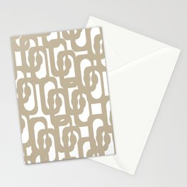 Mid Century Modern Loop Pattern in Flax and White Stationery Cards