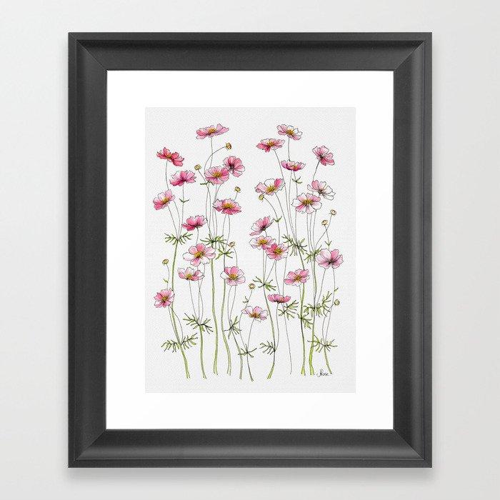 Pink Cosmos Flowers Gerahmter Kunstdruck