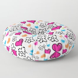 Pink Hearts and Flowers Floor Pillow