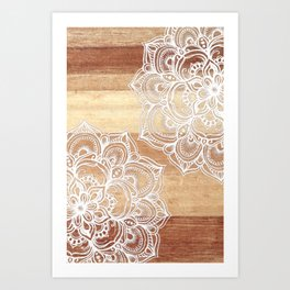 White doodles on blonde wood - neutral / nude colors Art Print