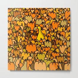 Duck in a Pumpkin Patch Metal Print