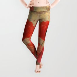 Red as Poppies can be Leggings
