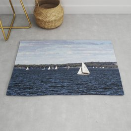 Sailboats on Lake Mendota one of two large lakes that residents of Madison Wisconsin Rug