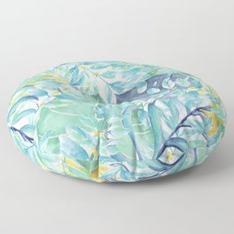 Modern teal green yellow watercolor tropical leaves Floor Pillow