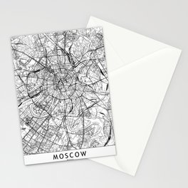 Moscow White Map Stationery Cards