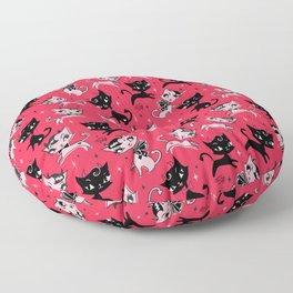 Devil Kitties Red Floor Pillow