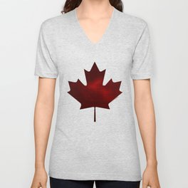 Metallic maple leaf Unisex V-Neck