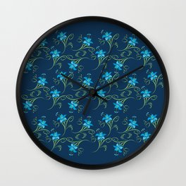 Blue Lilies Flowers Floral Pattern Wall Clock