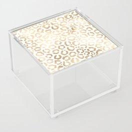 Elegant Gold White Leopard Cheetah Animal Print Acrylic Box
