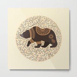 Scandinavian Folk Art Bear Metal Print