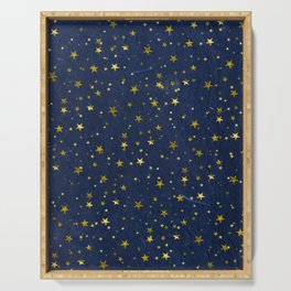 Golden Stars on Blue Background Serving Tray
