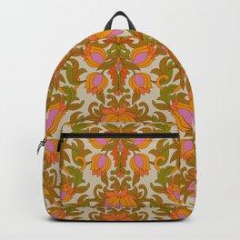 Orange, Pink Flowers and Green Leaves 1960s Retro Vintage Pattern Backpack