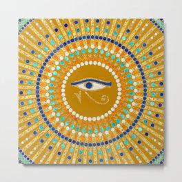 Eye of Thoth with Mandala Inspired By Ancient Egyptian Necklace (Gold Ochre Backround) Metal Print