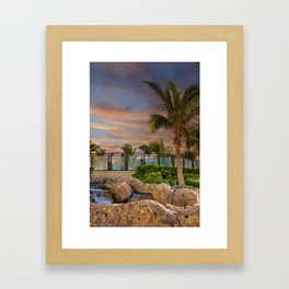 Palm Tree and Fountain at Dusk Framed Art Print