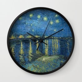 Van Gogh, Starry Night Over The Rhone Artwork Reproduction, Posters, Tshirts, Prints, Bags, Men, Wom Wall Clock