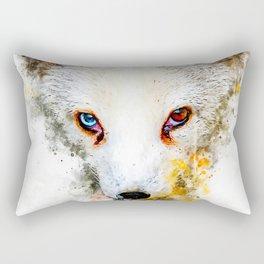 arctic fox bicolor eyes ws std Rectangular Pillow