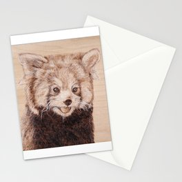 Red Panda Portrait - Drawing by Burning on Wood - Pyrography Art Stationery Cards