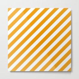 Diagonal Stripes (Orange & White Pattern) Metal Print