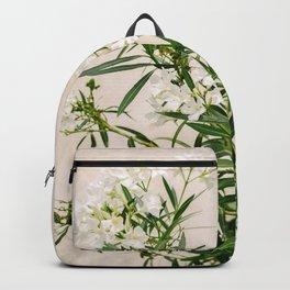 White oleander on Elba Island   Italy   Travel Photography   Art Print  Botanical Photo Backpack