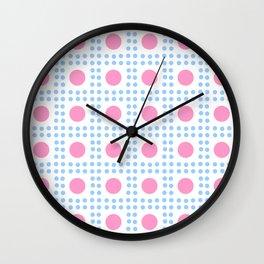 new polka dot 7 -pink and blue Wall Clock