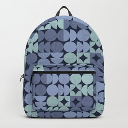 MidCentury Modern Moons with Stitching in Blues Backpack