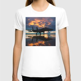 Fighter Jet Airplane at Sunset Military Gifts T-shirt