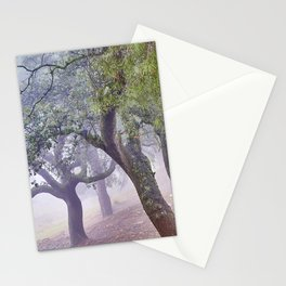 Cork oaks. Foggy sunrise at the mountains Stationery Cards