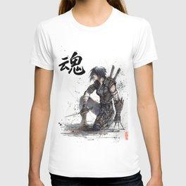 Calligraphy SOUL Ghost in the Shell Motoko Ninja T-shirt