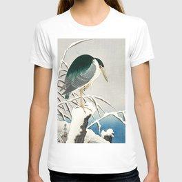 Heron in snow - Japanese vintage woodblock print art T-shirt